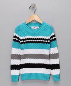 Knuckleheads & Hula Mula Blue Stripe Frost Sweater