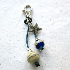 Beaded purse charm bag charm key chain lampwork by THEAjewellery, £8.50