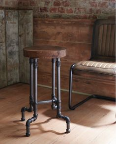 industrial steel pipe stool with wooden top. www.brush64.co.uk