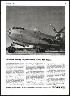 1944 WW II BOEING B-29 Superfortress starts for Japan WWII WW2 AD