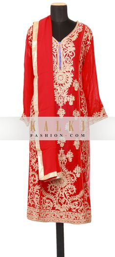 Buy Online from the link below. We ship worldwide (Free Shipping over US$100)   http://www.kalkifashion.com/featuring-a-scarlet-red-georgette-straight-cut-semi-stitched-salwar-kameez-embellished-in-zari-and-kundan-only-on-kalki.html