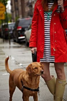 Navy and white nautical striped dress, turquoise J. Crew bubble necklace, red raincoat, Hunter boots... and really I want the DOG!  It's not a yellow lab or a chocolate or black lab... is there such a thing as a Golden lab?