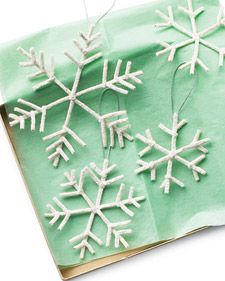 crystal snowflakes made with a borax solution and pipecleaner.  Fun craft to do with the kids