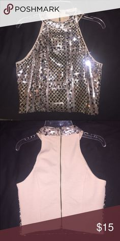 Forever 21 sequence longer crop top! Worn once. Perfect for New Years Eve! Forever 21 sequence long crop Forever 21 Tops
