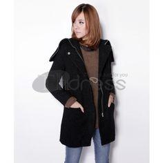Wool Coats-Black women's wool coats