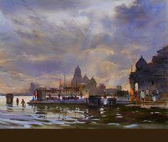 praful b sawant artist - Google Search Watercolor City, Watercolor Drawing, Watercolor Flowers, Beautiful Landscape Paintings, Watercolor Landscape Paintings, Indian Art Paintings, Wonderful Picture, Amazing Drawings, Varanasi