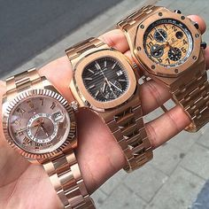 Watches For Men Luxury Rose Gold Fever ! Rolex Skydweller, Patek Philippe Nautilus Chronograph, and Audemars Piguet Royal Oak Offshore Chronograph. Lux Watches, Stylish Watches, Luxury Watches For Men, Vintage Watches, Jewelry Watches, Fashion Watches, Jewlery, Jewelry Bracelets, Amazing Watches