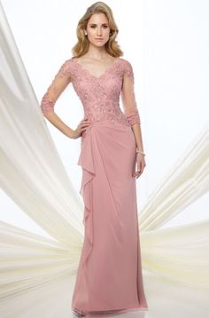 Formal Evening Gowns by Mon Cheri – Fall 2016 – Style No. 216965 – chiffon eveni… Formal Evening Gowns by Mon Cheri – Fall 2016 – Style No. 216965 – chiffon evening gown with illusion lace sleeves Mother Of Groom Dresses, Bride Groom Dress, Bride Gowns, Mothers Dresses, Mother Of The Bride, Mob Dresses, Bridesmaid Dresses, Dresses With Sleeves, Wedding Dresses