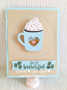 I used fun-foam for the whipped cream to make it look realistic. I used my hot cocoa cups die-namics from MFT Stamps, as well as the banner from Blueprints 27 and the stitch circle die-namics. Tarjetas Diy, Coffee Theme, Coffee Cards, Mft Stamps, Marianne Design, Shaker Cards, Winter Cards, Grafik Design, Diy Cards