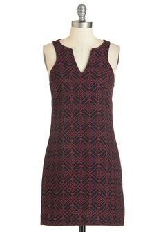 Geo-So-Lovely Dress. Showcase your admirably chic style in this rich scarlet-red and black frock.  #modcloth
