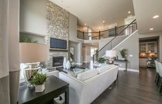 Transitional Living Room with Carpet, Ply Gem Stone Shade Mountain Stone Veneer, metal fireplace, High ceiling, TV Wall Mount