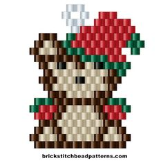 Free Small Christmas Teddy Bear Brick Stitch Beaded Earring pattern, color chart, letter chart, and bead count by Brick Stitch Bead Patterns Journal. Beaded Earrings Patterns, Seed Bead Patterns, Peyote Patterns, Beading Patterns, Beading Ideas, Beading Tutorials, Bead Earrings, Bracelet Patterns, Christmas Teddy Bear