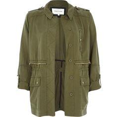 River Island Khaki utility military casual jacket ($50) ❤ liked on Polyvore featuring outerwear, jackets, casacos, coats, coats / jackets, khaki, sale, women, military style jacket and military jacket