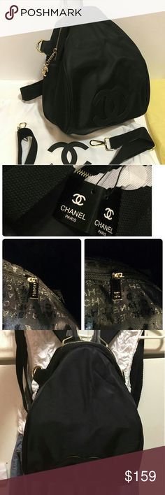 """Authentic VIP Gift Limited backpack /cross body Authentic 2017 Chanel VIP Gift from Asia.   Black  Nylon backpack/cross body This is a gift for VIP costume of Chanel products. It is made for exclusive distribution by Chanel to its costumers.  *Black Nylon  *Faux Black Leather CC Logo on front  *Gold Hardware  *Top Zippered with Gold Chain & CC Logo  *2 Interior open pocket (1pocket zipper) * Removable, Adjustable crossbody strap Size 12""""x5.5:x8.5"""" no box come with dust bag and hang tag  As a…"""