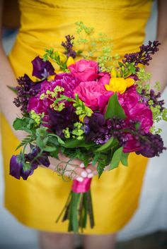 Vibrant Pink and Purple Bridesmaid Bouquet | Photo: Christopher Duggan Photography | Bouquet: Gillooly & Co. Design |