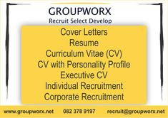 Groupworx is a people and business management consulting firm specialising in recruitment, selection, and development. Cv Writing Service, Writing Services, Recruitment Services, Personality Profile, Professional Cv, Cover Letter For Resume, Business Management, Curriculum, The Selection