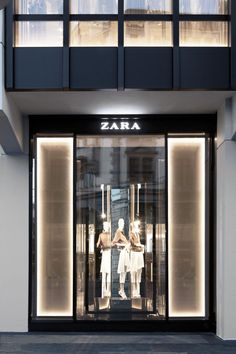 The new Zara flagship store in Zurich, is located at Bahnhofstrasse, one of the busiest streets of the city. Jewelry Store Design, Clothing Store Design, Jewelry Shop, Shop Front Design, Design Shop, Shop Signage, Balenciaga Store, Bakery Store, Shop Facade