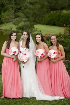 Outdoor Military Wedding at Gardens, Coral Bridesmaids Dresses 2014 - Strapless