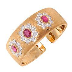 Buccellati White & Yellow Gold, Diamond & Ruby Cuff Bracelet | 1stdibs.com