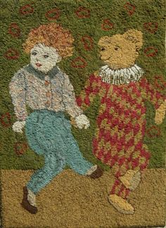 "Bear dancing 24 x 35"" - Sharon A. Smith - Off the Hook Rugs"