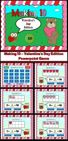 Have fun on Valentine's day with this engaging powerpoint game. Students are given a number in a tens frame and they must figure out what number can be added to it to make 10. These tens frames uses pictures of simple hearts, chocolates, and decorated hearts. There are 20 questions and you just click on each question to go to it. The question disappears after you've clicked on it so you know you've answered it.