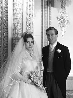 Princess Margaret with Lord Snowdon, formally Antony Armstrong-Jones, on their wedding day  1960