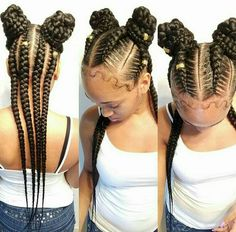 African braids look trendy, provide your hair a rest and may give protection. we've found fashionable Ways to Rock Trendy African Braids Hairstyles for black women. Kids Braided Hairstyles, African Braids Hairstyles, Little Girl Hairstyles, Childrens Hairstyles, Hairstyles 2018, Afro Hair Style, Curly Hair Styles, Natural Hair Styles, Braids For Kids