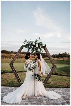 A Winery Wedding with a Modern Botanical Theme - Love Inc. Mag - Geometric altar installation for outdoor wedding ceremony Romantic Wedding Photos, Romantic Weddings, Wedding Pictures, Lesbian Wedding Photos, Wedding Photoshoot, Lgbt Wedding, Wedding Ceremony, Wedding Venues, Wedding Favors