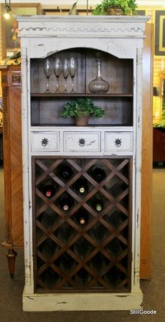 Tall distressed white wine cabinet with 3 drawers, 1 shelf, wine rack. #OnTheShowroomFloor #Tall #Distressed #White #Wine #Cabinet #StillGoode