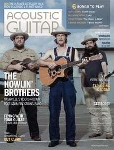 Acoustic Guitar magazine, issue no. featuring the Howlin' Brothers on the cover. Acoustic Guitar Magazine, Guitar Guy, Sound Waves, Itunes, Songs, App Store, Reading, Magazine Covers, Live
