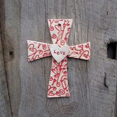Lively Handbuilt Cross Clay/ Pottery Wall Hanging by StarLightClay, $23.00