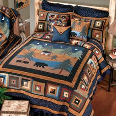 Midnight Bear uses deep blues, greens and browns. Mama bear and family take a stroll under the night sky on the center panel while the border is a traditional log cabin design in complementary colors. Bears, trees and cabin are hand appliqued and border i Twin Quilt, Quilt Bedding, Log Cabin Designs, Rustic Bedding, Chic Bedding, Pillows Online, Textiles, Quilted Bedspreads, Bath