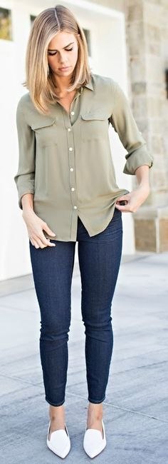 Kensington Way White Pointy Flats Jeans Olive Blouse Fall Streetstyle Inspo