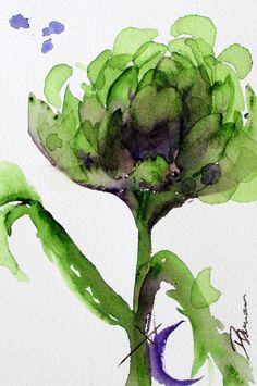 Artichaut aquarelle, tirage d'Art botanique moderne, Art cuisine originale