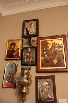 My small iconostasis at home. I try to pick up an original icon on every trip to Greece. Have a favourite Orthodox store in Tripolis that sells older icons and I always check this store out at every opportunity. I grew up attending weekly, and I mean week Orthodox Prayers, Prayer Corner, Home Altar, Home Icon, Religious Icons, Orthodox Icons, Taxidermy Decor, Sacred Art, Spiritual Inspiration