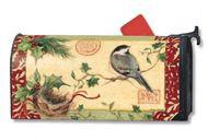 Mailwraps Holiday Chickadee Mailbox Wrap