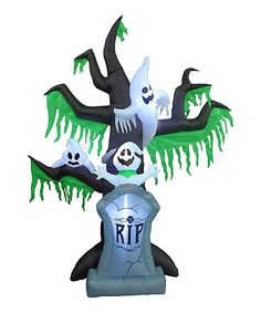 Frighteningly Festive Inflatable! | Ghostly Tree features lights for better evening views.