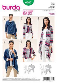 Burda B6667 Women's Jacket Sewing Pattern