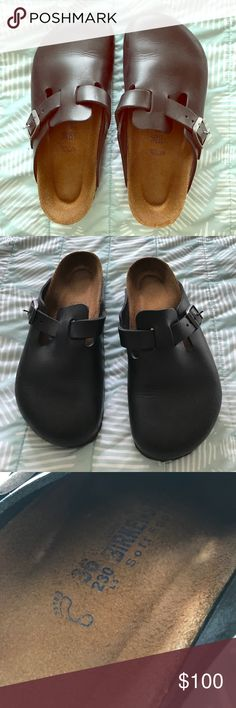 Birkenstock Clogs Black leather Birkenstocks. These have been worn 2 times-like new condition. They are a little small for me. Buy true to your Birkenstock size. Birkenstock Shoes