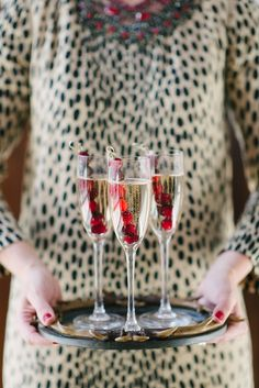 Use frozen cranberry skewers to keep champagne cold!