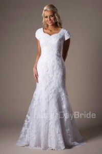 Modest Lace Wedding Dress: Temperance. Available at Latterday Bride. See more at latterdaybride.com