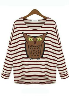 Personality stripe long batwing sleeve loose T shirt