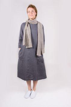 Dark slate grey color dress. Linen dress. Oversize linen dress. Round neckline dress by Maliposhaclothes on Etsy
