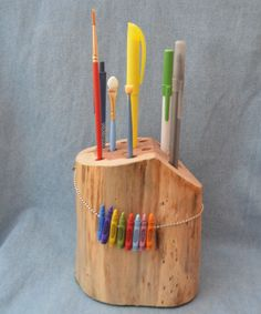"""Cedar Pen & Pencil Holder with """"Crayon"""" Embellishment, Hand Crafted in North Carolina"""