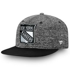 956384c1506 Men s New York Rangers Fanatics Branded Heathered Gray Black Emblem  Snapback Adjustable Hat