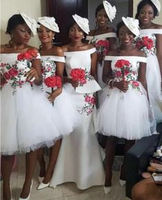 afrikanische kleider Simple off the shoulder short Bridesmaid Dresses. Processing time business days after Patterned Bridesmaid Dresses, African Bridesmaid Dresses, Country Bridesmaid Dresses, Bridal Dresses, Bridesmaid Gowns, Nigerian Wedding Dress, African Wedding Attire, Nigerian Weddings, African Traditional Dresses