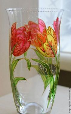 """Купить Ваза для цветов """"Тюльпаны"""" богемское стекло - разноцветный, ваза для цветов, ваза, ваза стеклянная"""