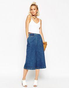 Immagine 1 di ASOS - Gonna pantalone di jeans con tasca con patta blu medio slavato