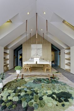 A from with the awesome studio 💪🏼🌿 ・・・ a mossy rug, suspended desk, timber and plants are seeing in estudio nidolab's ideal home office design. image by federico kulekdjian Interior Architecture, Interior And Exterior, Interior Design, Hanging Furniture, Outdoor Furniture Sets, Home Office Design, House Design, Office Decor, Office Rug