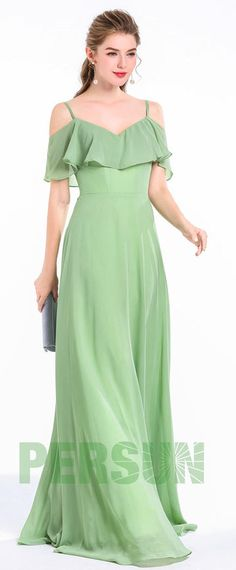 Greenery long dress with high ruffles for wedding procession - Dress 02 Wedding Party Dresses, Bridesmaid Dresses, Evening Dresses, Formal Dresses, Couture, Green Dress, Designer Dresses, Ruffles, Fashion Dresses